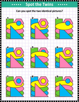 Basic Shapes Spot the Identicals Visual Puzzle 3, Commercial Use Allowed