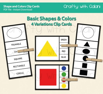 Basic Shapes and Colors Clip Cards with 4 Variations