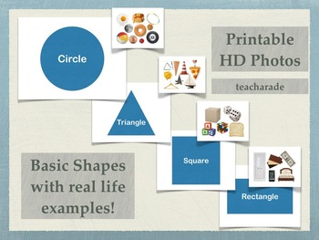 Basic Shapes with Real Life Examples: Printable Poster or Flashcards