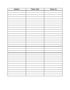 Basic Sign Out/In Sheet