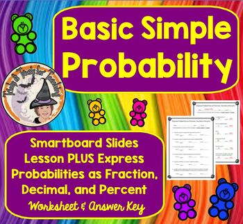 Basic Simple Probability and Express as Fraction Decimal P