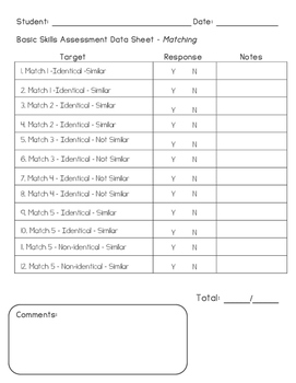 Basic Skills Binder - Matching - Data Sheet