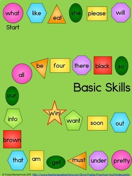 Basic Skills Board Games: Colors, Shapes, Letters, Sight Words & Numbers