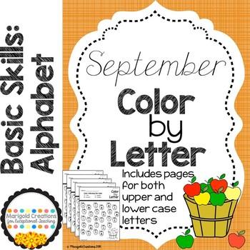 Basic Skills: Color By Letter- September Apples (No Prep)