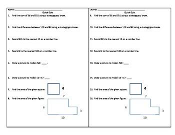 Basic Skills Cumulative Quiz (+, -, rounding, x, division, area)