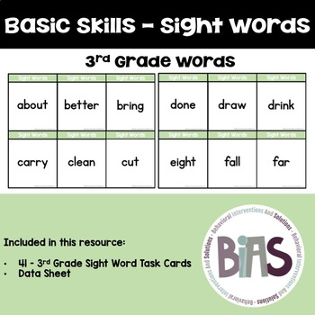 Basic Skills Dolch Sight Words 3rd Grade (Special Education, ABA, DTT)