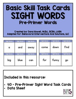 Basic Skills Dolch Sight Words Bundled Set (Special Ed, Autism, ABA, DTT)