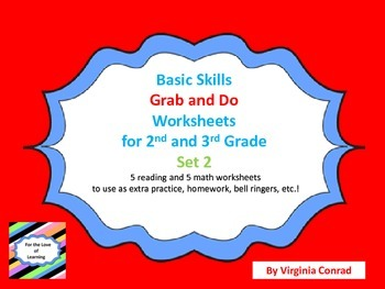 Basic Skills Grab and Do Worksheets for 2nd and 3rd Grades--Set 2