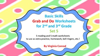 Basic Skills Grab and Do Worksheets for 2nd and 3rd Grade--Set 5