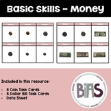 Basic Skills Money Task Cards (Special Education, ABA, DTT)