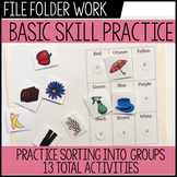 Basic Skills Practice File Folder Work for Special Education