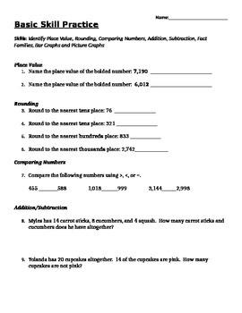 3rd Grade Mixed Math Review  Practice Printable