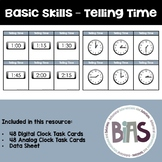 Basic Skills - Telling Time Task Cards (Special Education,