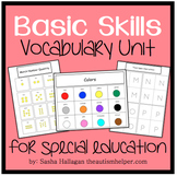 Basic Skills Vocabulary Unit {for Special Education}