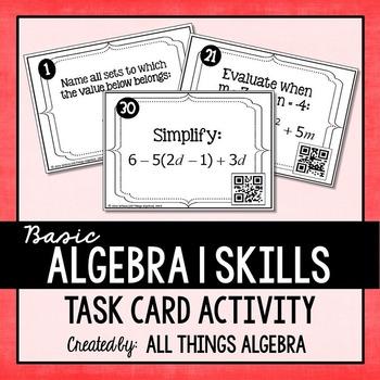 Basic Algebra 1 Skills Task Cards