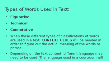 Basic Skills for Reading an Informative Text (Standards 4, 5, 6)