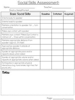 Basic Social Skills Assessment {FREEBIE}