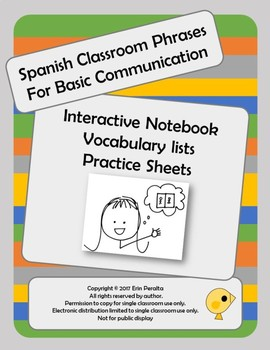 Basic Spanish Classroom Communication Phrases Interactive notebook and Practice