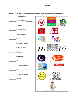 Basic Spanish Conversation Activity Sheet