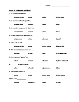 Basic Spanish Conversation Activity Sheet