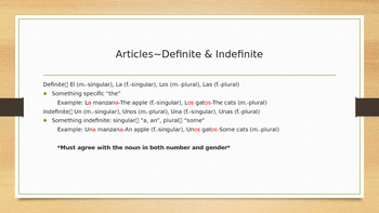 Basic Spanish: Nouns, Adjectives and Agreement