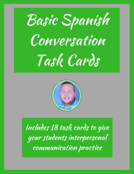 Basic Spanish Questions Conversation Task Cards