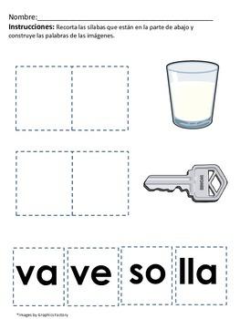 Basic Spanish Syllable Activities / Homework