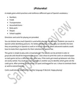 Basic Spanish Vocabulary Review Pictureka Game