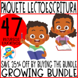 Growing Bundle Basic Spanish Reading and Writing Worksheets Centers Boom Cards