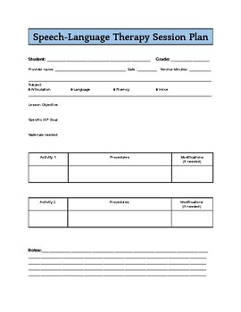 Basic Speech/Language Therapy Lesson Plan