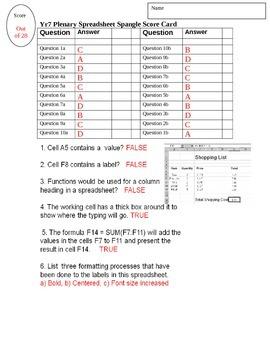 FREE-Basic Spreadsheet Quiz Test for Grade 7 Year 7 ICT Answer Key