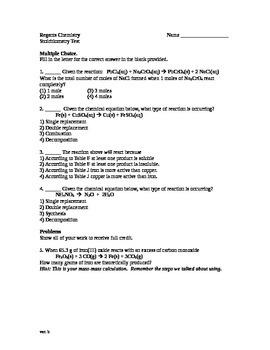 Basic Stoichiometry Test Chemistry
