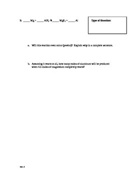 Basic Stoichiometry Test Chemistry Version 2