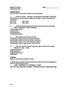 Basic Stoichiometry Test Chemistry Version 2