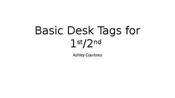 Basic Student Desk Tags- Editable