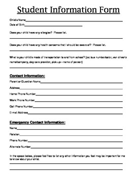 basic student information form by jamie lindelof tpt