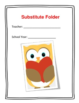Basic Substitute Packet (folder) for Elementary Teachers