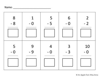 Basic Subtraction Assessment: Zero as the subtrahend or as the difference
