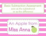 Basic Subtraction Assessment: Zero as the subtrahend or as