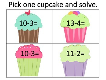Basic Subtraction Fact Cupcakes--whole group lesson, worksheets, center
