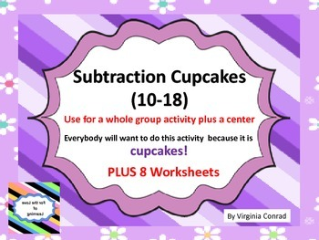 Basic Subtraction Fact Cupcakes--whole group lesson, works