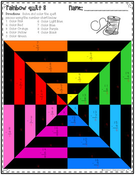 Basic Subtraction Facts Color By Code Math Quilts