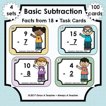 Basic Subtraction Facts Task Cards