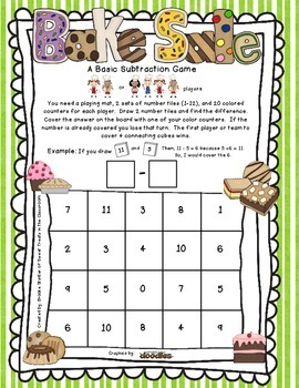 Basic Subtraction Game - Bake Sale