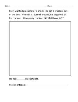 Basic Subtraction Math Word Problems (up to 10)