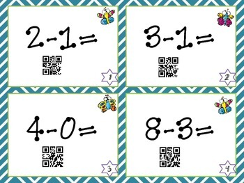 Basic Subtraction QR Task Cards