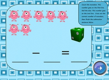 Basic Subtraction SMART Board Lesson Monster Theme