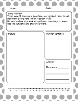 Basic Subtraction Story Problems Set 2
