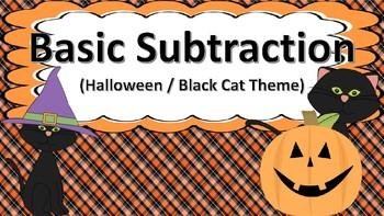 Basic Subtraction Task Cards (Halloween / Black Cat Themed)