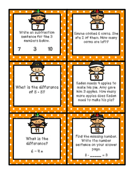 Basic Subtraction Thanksgiving Scoot!